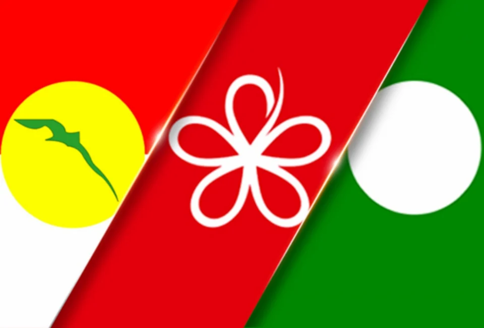 Three main component parties in the PN coalition: UMNO, Bersatu, and PAS.