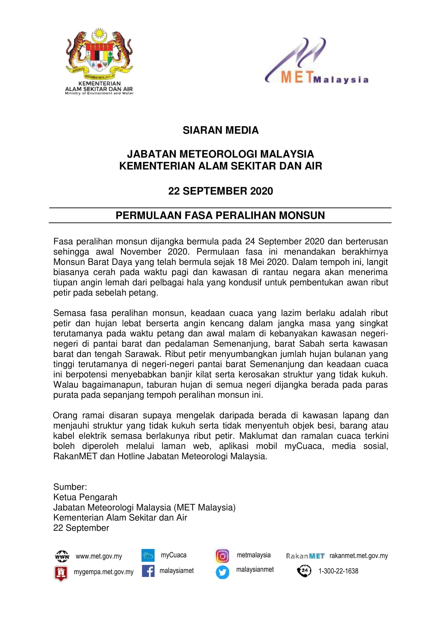 Image from Malaysian Meteorological Department (Facebook)