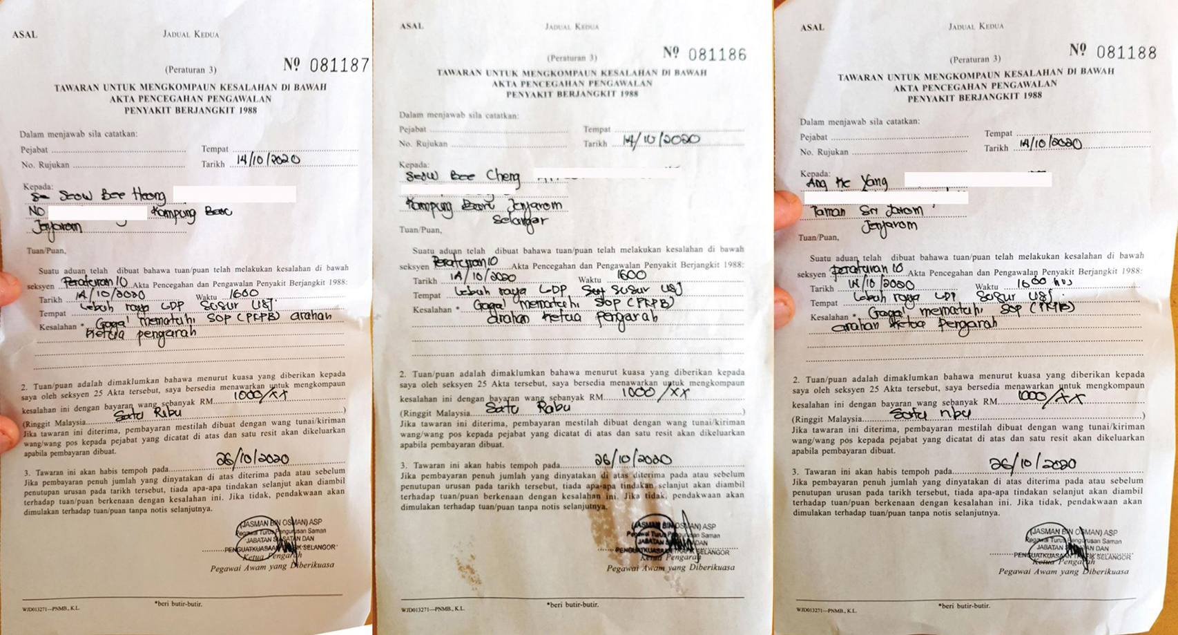 The three compounds issued to Seow Boon Keong.
