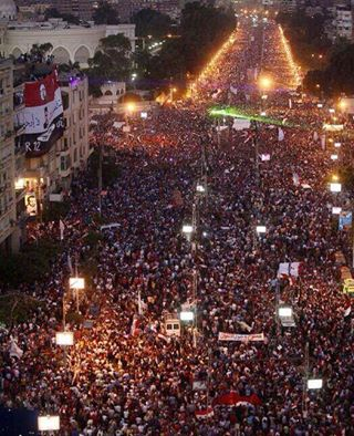 Military and Ministry of Interior sources have claimed that up to 17 million Egyptians joined today's demonstrations. Image from Egyptian Streets.