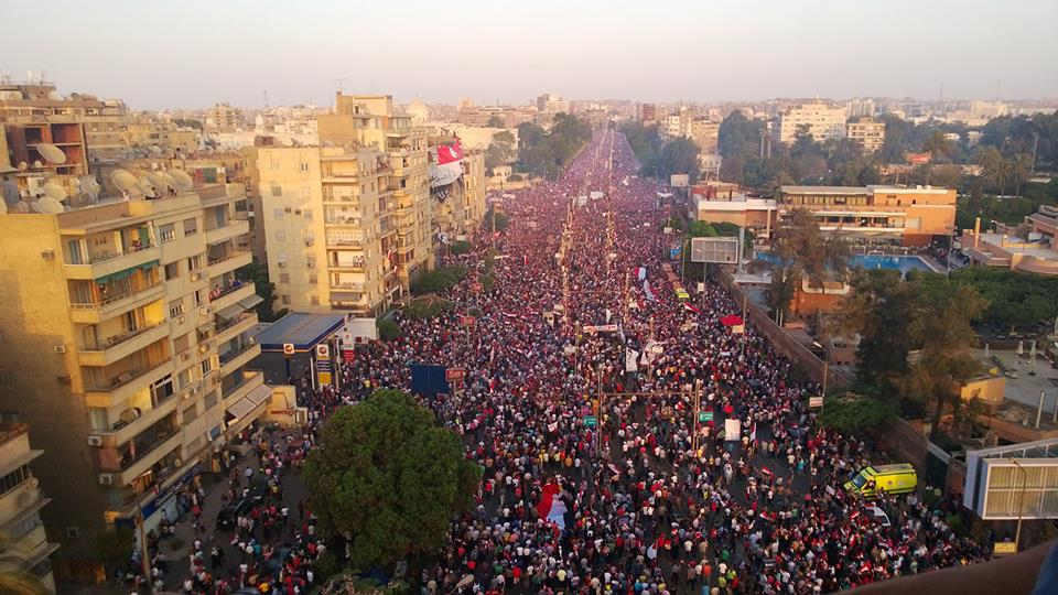 Marches of Egyptians are still spilling into Egypt's streets, with many more joining those gathered outside the Presidential Palace. Tahrir Square has reached full capacity amid a highly festive atmosphere. Image from Egyptian Streets.