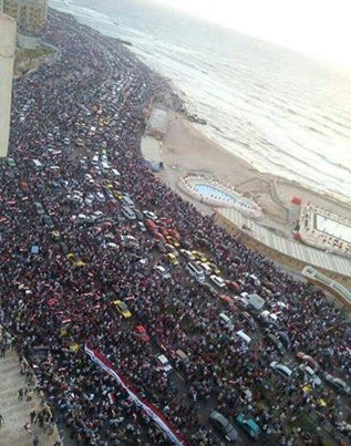 Alexandria, Egypt today[June 30, 2013. Protests against Morsi today have exceeded expectation in the numbers of people participating. Un-confirmed reports are over a million people on the streets of Egypt against corruption in Government. Image from: The Man Who Walks With GOD Always Gets to His Destination