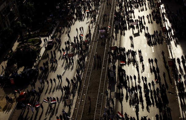 Protests in Egypt: Tension cut through the streets of Cairo on Sunday as protesters flooded into rival demonstrations. Image from The Washington Post