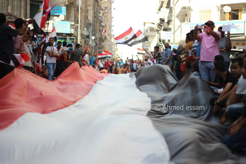 /Thousands of anti Morsi protesters in Alexandria city chanting against the regime on the 30th of June 2013. Image by Ahmed Essam.