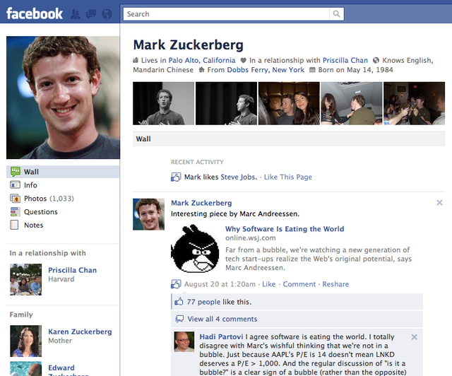 If you add number 4 to the end of Facebook's URL, it will automatically direct you to its founder's wall page. Why Zuckerberg chose 4 instead of 1 is unknown but if you add the numerals like 5 and 6, it will direct you to the other co-founders, Chris Hughes and Dustin Moskovitz. Tacking a 7 onto the web address leads to the profile of Arie Hasit, another good friend of Zuckerberg from his days at Harvard. To see the first few registered profiles of other Facebook employees, you can try out other numbers. (Source: WoWNesia)